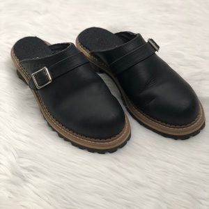 Georgia Lugger Shoes - Leather Mule Clogs